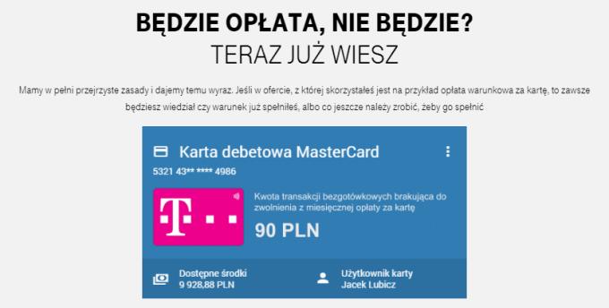 Informacja o opłacie za kartę - T-Mobile Usługi Bankowe