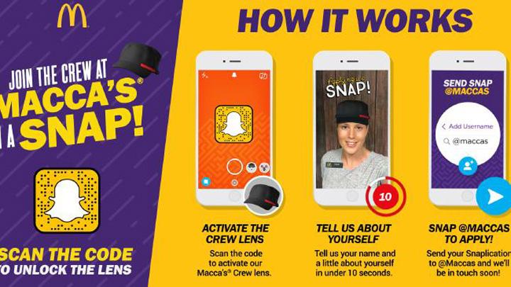 Rekrutacja do McDonalda przez Snapchata (Australia) - instrukcja