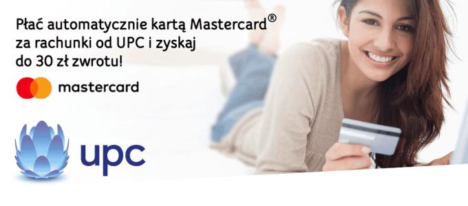 30 zł zwrotu za płatności automatyczne kartą Mastercard w UPC