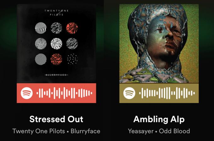 Przykładowe kody Spotify do piosenek