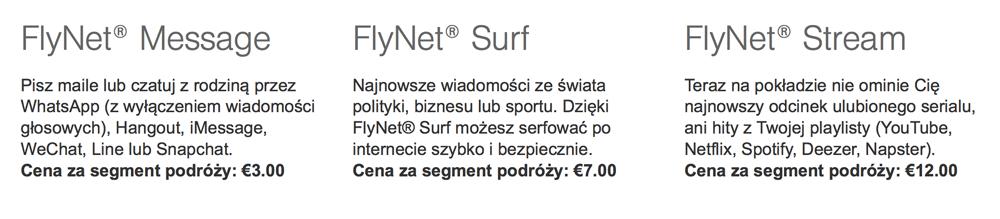 Opis pakietów FlyNet