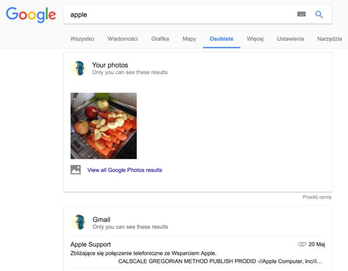 Przykładowy widok karty Osobiste w wyszukiwarce Google