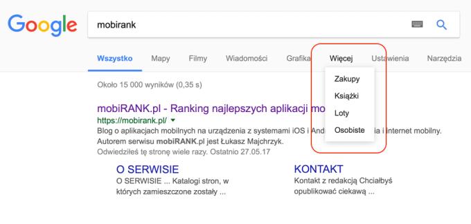 """Karta """"osobiste"""" w wyszukiwarce Google"""
