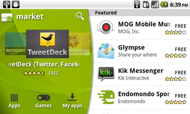 Screen ze sklepu Android Market