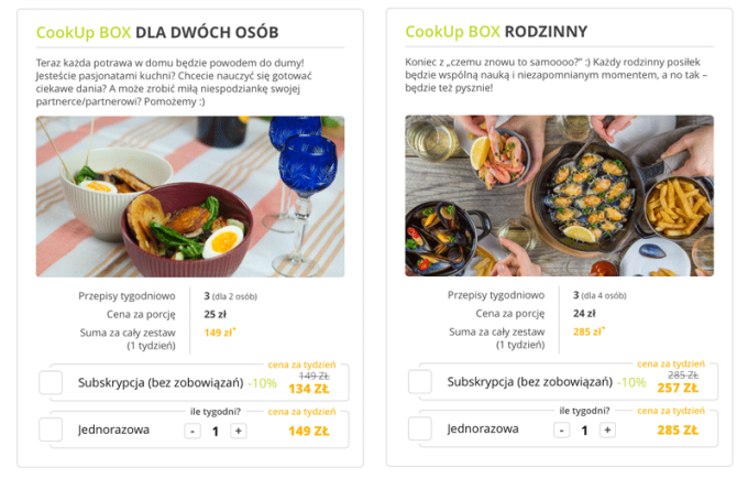 CookUp Box - cennik