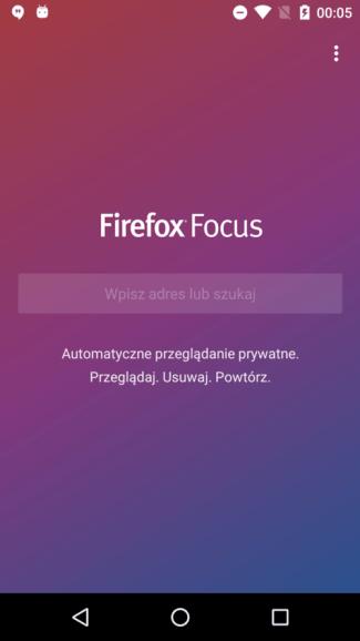 Screen aplikacji Firefox Focus na Androida