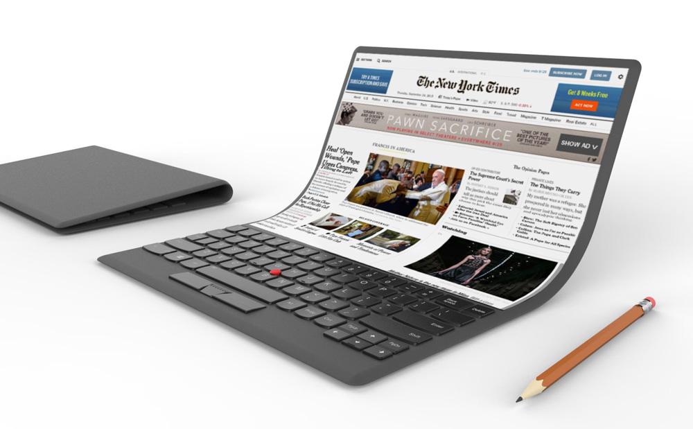 Koncepcja laptopa lenovo z elastycznym wyświetlaczem