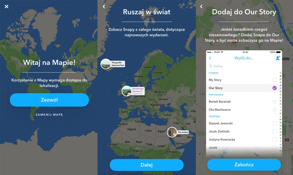 Snap Map - screen z aplikacji (PL)