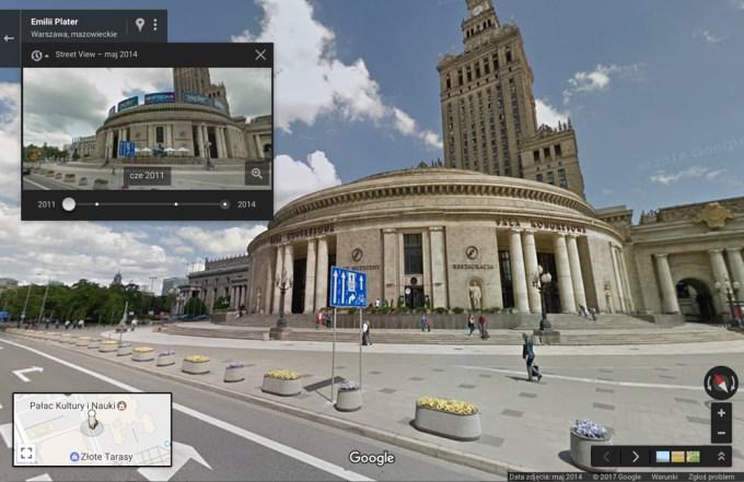 Widok na PKiN w Warszawie w Street View Mapach Google'a