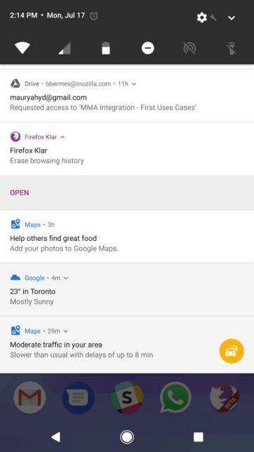 Firefox Focus - Powiadomienia (Android screen)