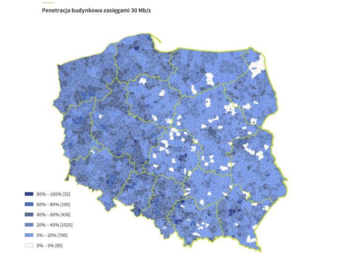 Mapa: Penetracja budynkowa zasięgami 30 Mb/s