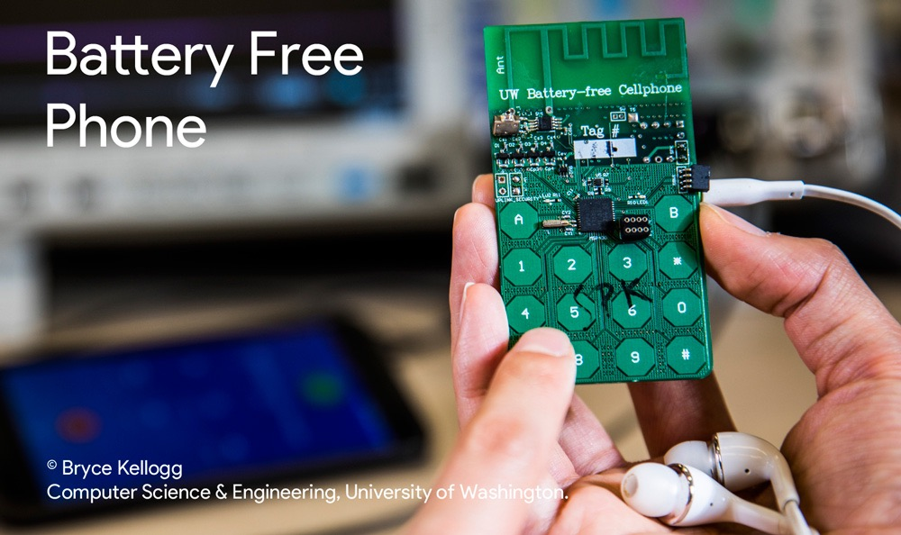 Battery Free Phone - działający telefon komórkowy bez baterii (UW. luty 2017)
