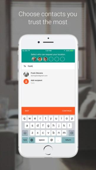 Zaufane kontakty (iOS, screen)