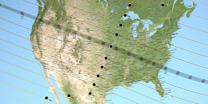 Mapa całkowitego zaćmienia Słońca 21.08.2017
