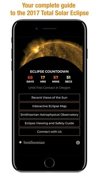 Smithsonian Eclipse 2017 (screen aplikacji)
