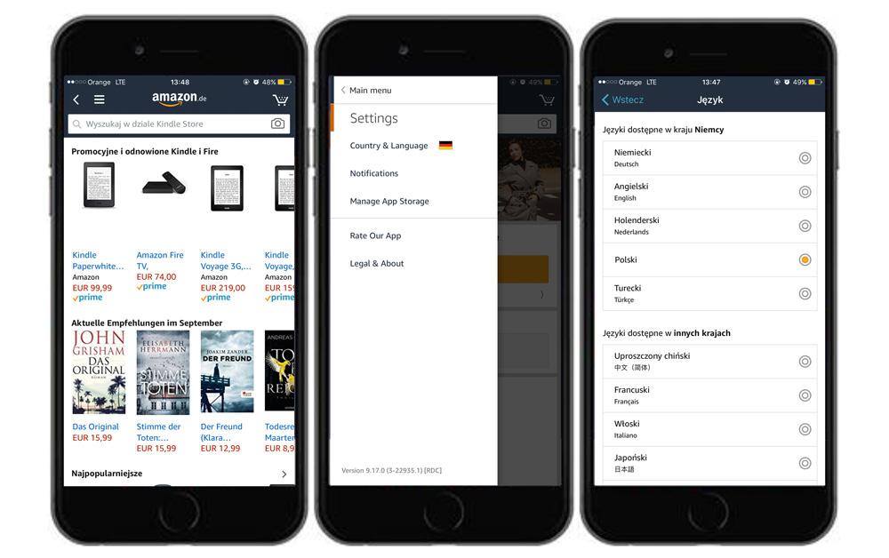 Ustawienie języka polskiego w aplikacji mobilnej Amazon