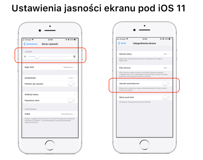 Wyłączanie/włączanie automatycznej jasności pod systemem iOS 11