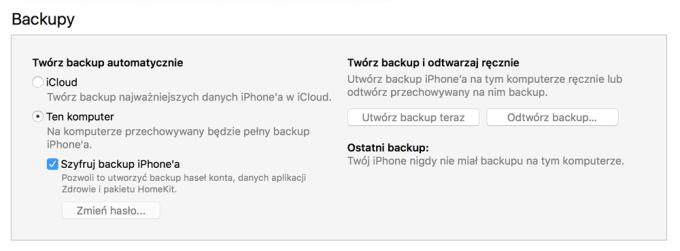 Backup iPhone'a w programie iTunes 12.7