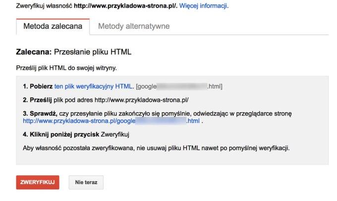 Weryfikacja za pomocą HTML-a w Google Search Console'i
