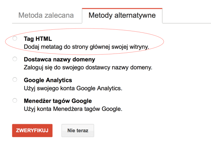 Weryfikacja metatag (tag HTML) w Google Search Console