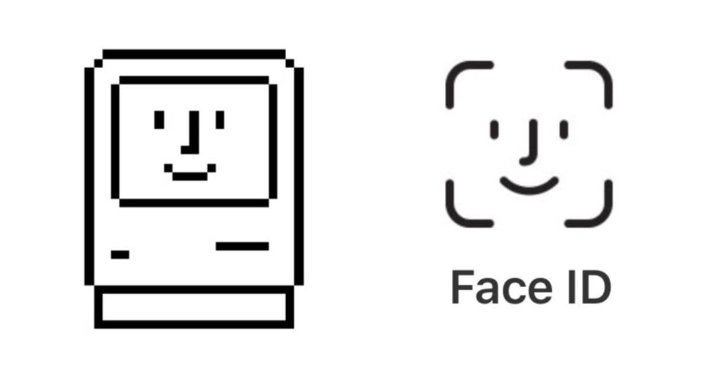 Ikona Face ID przywołuje klasyczną ikonę Macintosha