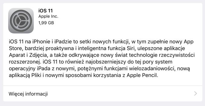 iOS 11 (uaktualnienie) - pełna lista zmian