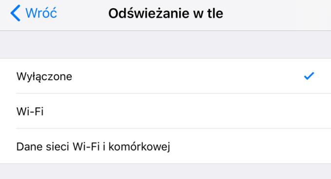Odświeżanie w tle (iOS 11) (Wi-Fi, siec komórkowa)
