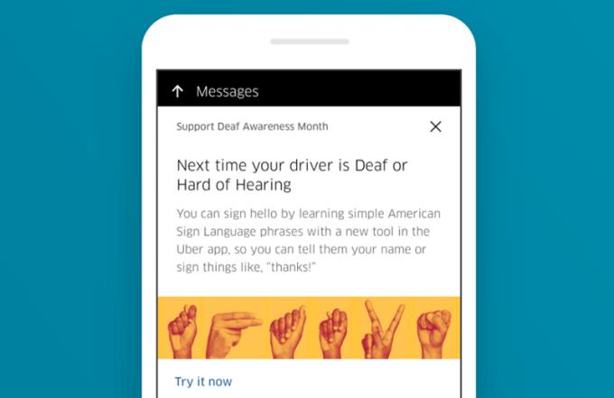 Opcja języka migowego ASL w aplikacji Uber