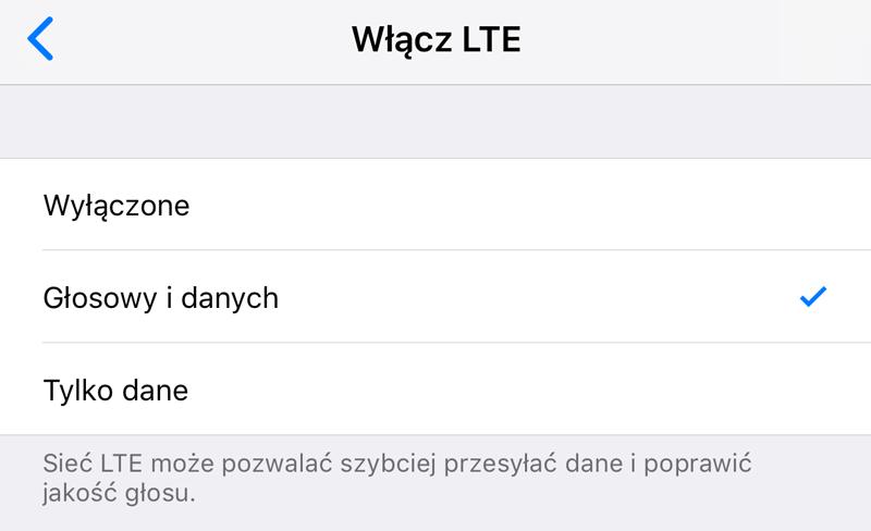 Opcje sieci LTE/4G (iOS 11)