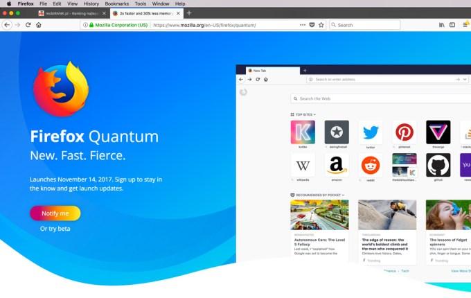 Nowy wygląd przeglądarki Firefox 57 pod systemem macOS