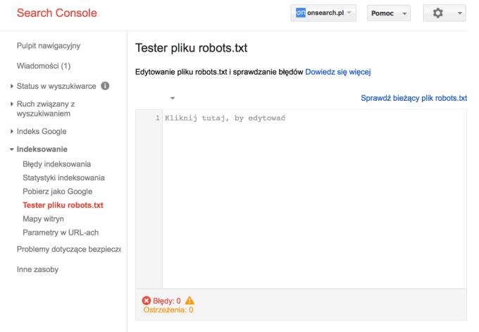 Tester pliku robots.txt w Google Search Console
