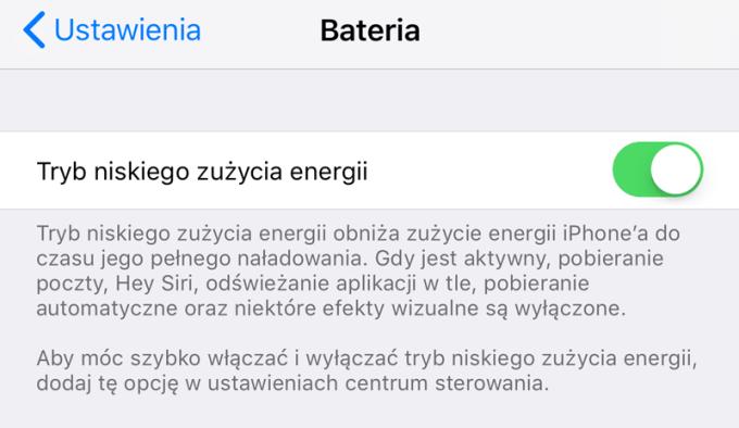 Tryb niskiego zużycia energii (iOS 11)