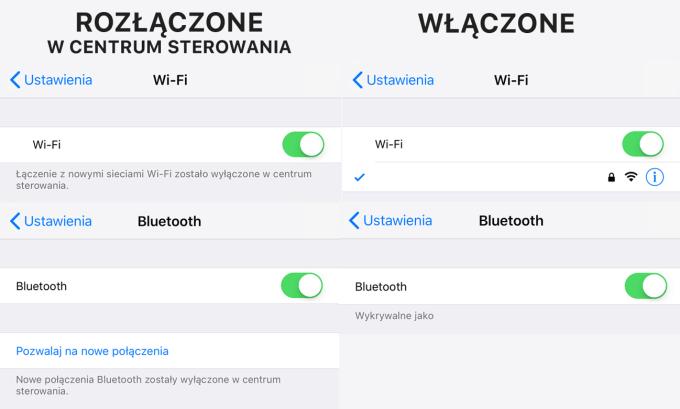 Ustawienia Wi-Fi i Bluetooth (włączenie/rozłączenie/wyłączenie)