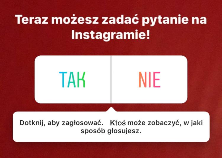 Ankieta w naklejkach na Instagramie w Relacjach (InstaStories)