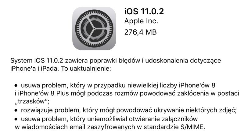 iOS 11.0.2 w trybie OTA