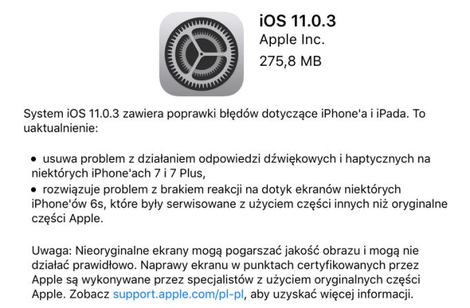 iOS 11.0.3 update OTA