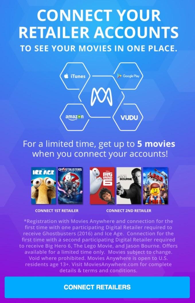 Movies Anywhere - promocja do 5 filmów za darmo po dodaniu 2 usług