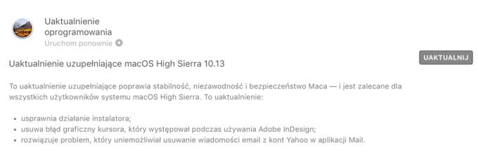 Opis zmian w uaktualnieniu uzupełniającym systemu macOS High Sierra 10.13
