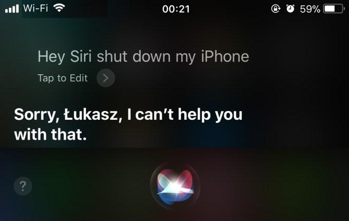 Siri nie wyłączy iPhone'a pod iOS-em 11