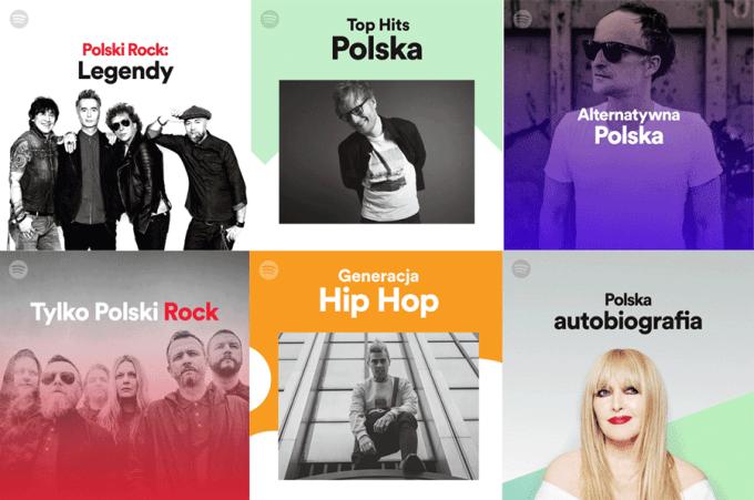 Okładki polskich playlist na Spotify