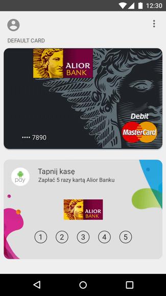 Screen z aplikacji Android Pay - TAPnij KASĘ - karta konkursowa
