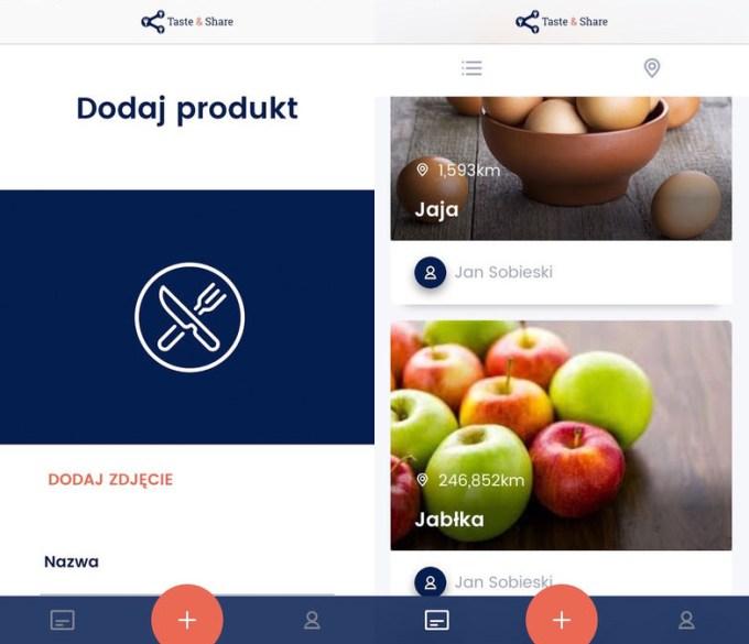 Screen aplikacji mobilnej Taste&Share