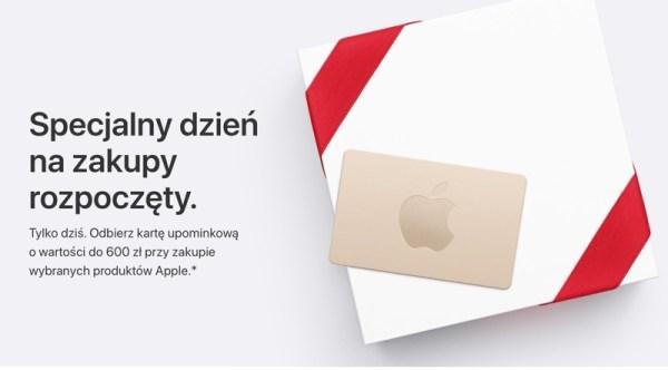 Apple dodaje dzisiaj do zakupów karty upominkowe do 600 zł