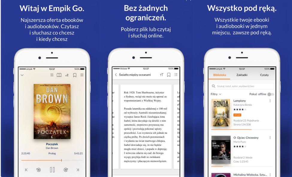 Screeny z aplikacji mobilnej EmpikGo