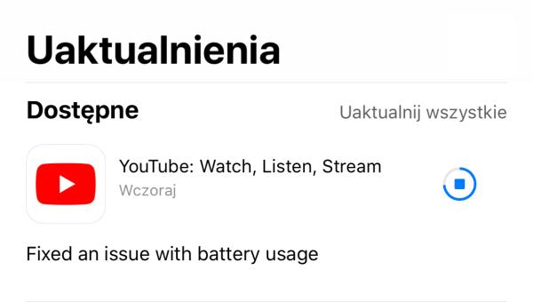 Aktualizacja aplikacji YouTube na iOS-a naprawia problem z baterią