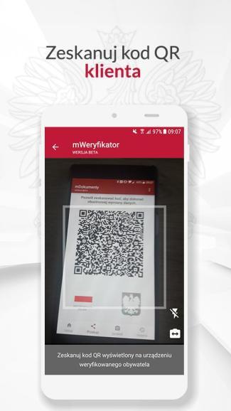 Screen aplikacji mWeryfikator