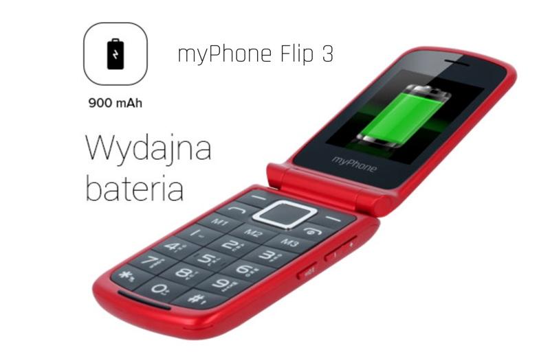 myPhone Flip 3 (wydajna bateria telefonu z klapką)