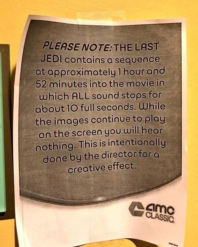 """Ostrzeżenie o braku dźwięku w jednej scenie filmu """"Gwiezdne Wojny: Ostatni Jedi"""""""