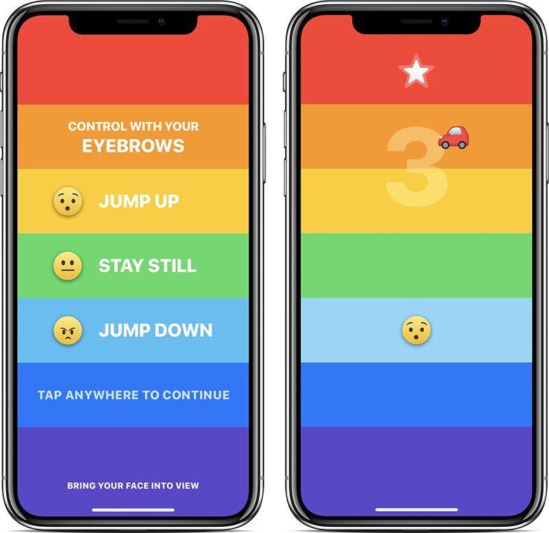 Gra mobilna Rainbow na iPhone'a X ze sterowaniem twarzą