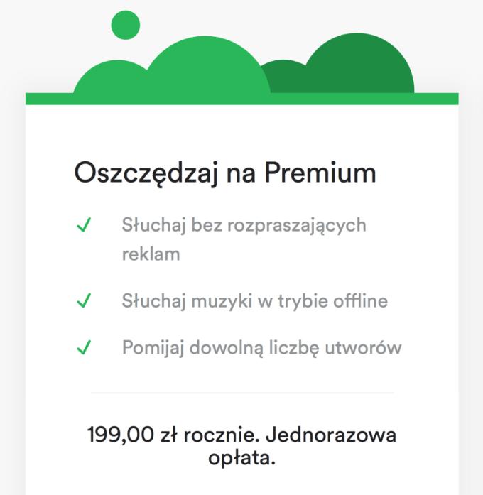 """Roczny abonament na usługę Spotify Premium (""""Yearly"""")"""